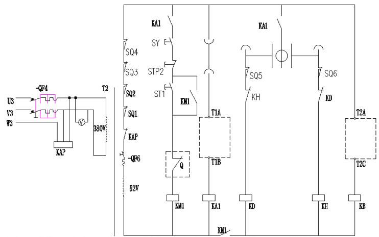 t2设置为变频器输出频率检测功能以控制电机制动器的抱闸接触器.